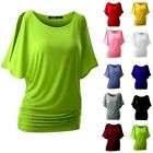 Women Summer Bat Sleeve T-shirt Loose Solid Color Round Neck Short Sleeve Tops