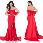 TERANI COUTURE 1622E1579 MARMAID STAPLESS RED GOWN WITH BOW $599 AUTENTIC