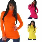Womens Long Polo Turtle Neck Jumper Ladies Long Sleeve Pullover Sweatshirt