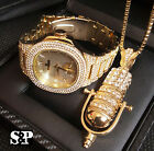 MEN ICED OUT HIP HOP GOLD PT QUAVO WATCH & MIC MICROPHONE NECKLACE COMBO SET  image