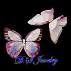Clear Crystal Rhinestones Live Like Carved Fabric Butterfly Hair Clip
