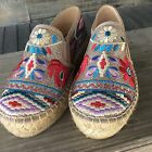 NWBOX, Johnny Was Champagne/Natural Espadrilles with Embroid