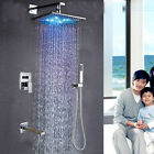LED Rainfall 3-Ways Shower Faucet Chrome Brass Shower Tub Tap W/ Handheld Shower