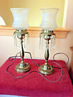 Vintage Brass Table Lamps with hanging crytal prisms and frosted glass globes