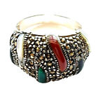 (SIZE 6,7,8,9) MULTI STONES RING Onyx Carnelian Marcasite .925 STERLING SILVER