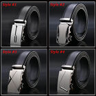 Men's Leather Dress Belt With Sliding Ratchet Automatic Buckle Holeless