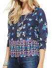 BRAND NEW M&S MARKS & SPENCER BLUE SCOOP NECK FLORAL BLOUSE SIZES 12,14,18,20