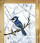 CLR:WND Blue Jay Bird Stained Glass Style Vinyl Window Decal ©YYDC (CHOOSE SIZE)