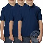 3 Pack Gildan Dry Blend Double Pique Childrens BLUE Polo Shirt School Uniform