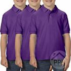3 Pack Gildan Dry Blend Double Pique Childrens PURPLE Polo Shirt School Uniform
