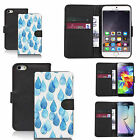 faux leather wallet case for many Mobile phones - blue raindrops