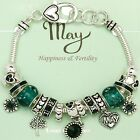 Birthstone Charm Bracelet Silvertone Gift Box Included Great for Gift.