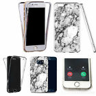 Shockproof 360° Silicone Clear Case Cover For many mobiles - marble design 214