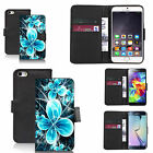 Black pu leather wallet case cover for most mobiles - futuristic flower