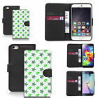 Black pu leather wallet case cover for most mobiles - green shingle