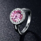 2.75 ct 4 Prongs Round Cut Pink CZ Crystals Fashion Halo Ring