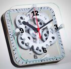 Wall Clock Square Plate Glass Quartz Crystal Moving Gear Bedroom Decoration