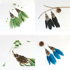 Womens Jewelry Gift Long Crystal Cocktail Drop Feather Décor Vintgae Earrings