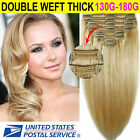 Real Clip in Human Hair Extensions Thick Double Weft High-end Hair Full Head L-M