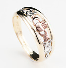 9ct Tri-Color Solid Gold Claddagh Celtic Trinity Mens Wedding Ring UK Full Sizes
