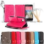 For Sony Xperia M2 S50H Tempered Film 3D Crystal PU Leather Case Cover Flip