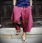 New Men's Summer Linen Japanese Samurai Boho Cotton Harem Hakama Pants 5 Colors
