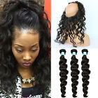 USA STOCK -Brazilian Body Wave Human Hair  3BundleWith 360 Lace Frontal Closure