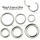 1pc. 18G 16g 14G 12g 10g Hinged Segment Ring Surgical Steel Hoop Ear Septum Ring