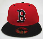 Boston Red Sox Red On Black Fitted Cap Hat MLB New Era Size 7 1/8