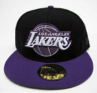LA Lakers Black on Purple Fitted Cap Hat NBA New Era Size 7