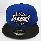 LA Lakers Blue On Black Fitted Cap Hat All Sizes NBA New Era