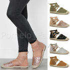 WOMENS LADIES FLAT LACE UP CAGED GLITTER SUMMER ESPADRILLES SANDALS SHOES SIZE