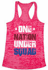 One Nation Under Squad Patriotic Women's Burnout Racerback Tank Tops 4th of July