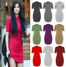 Women Ladies Short Sleeve Polo Neck Stretch Bodycon Midi Dress Plus Size UK 8-26