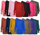 LADIES ONE OFF SHOULDER BAGGY BATWING LONG SLEEVE SLOUCH TSHIRT TOP PLUS SIZ8-26