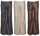 New Womens Cotton Linen Wide Leg Flared Trousers Ladies Palazzo Pants Size 8-16
