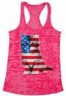 USA Flag Cat Women's Burnout Racerback Tank Tops 4th of July Gift American Flag