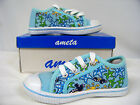 New Toddler Girl Canvas Low -Top Athletic Shoe  ( Lt Blue-Sealife )  Size 8
