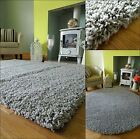MEDIUM X LARGE PLAIN SILVER GREY THICK HEAVY SOFT QUALITY SHAGGY PILE RUG MAT
