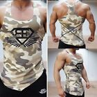 Grey Camouflage Gym Muscle Sleeveless T shirt Sport Mens Fitness Tank Top