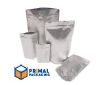 100 x Aluminium Stand Up Pouch with Grip Seal - FOUR SIZES AVAILABLE - HEAT SEAL