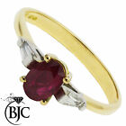 BJC® 18ct Yellow gold Ruby & Diamond trilogy size Q engagement dress ring  R1