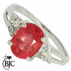 BJC® 9ct White gold Ruby & Diamond Solitaire size N engagement dress ring  R11