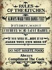 RULES OF THE KITCHEN SPILL IT WIPE IT TABLE MANNERS METAL PLAQUE TIN SIGN 1194