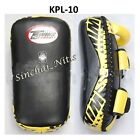 TWINS SPECIAL KICK CURVED PADS  KPL-10 BLACK LEATHER  MUAY THAI MMA TRAINING