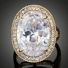 Gold Plated Egg Shaped Clear Cubic Zirconia Engagement Ring MJ0139