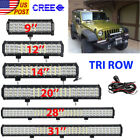 "Tri-row 9""/12""/14""/20""/23""/31""/36""Inch 18W LED Light Bar SPOT FLOOD Offroad 4WD"
