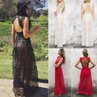 Women Hollow Lace Dress Sleeveless Backless Dress Christmas Maxi Long Dress