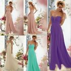 New beaded long bridesmaid prom Formal Evening Cocktail Party Ball Gown dress