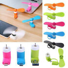 10X PCS 2 in 1 Portable Travel Mini Micro USB Fan For iPhone Android Smart Phone